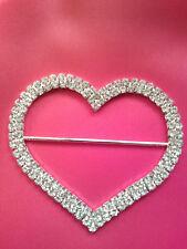 75mm Rhinestones crystal large heart buckle for chair sash  ribbon slider