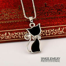 Sexy Women Black Cat Pendant Animal Necklace Chain 18k White Gold Plated XL263