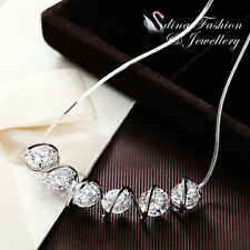 18K White Gold Plated Sparkling 2.0 Ct 6 Diamond Row Exquisite Cluster Necklace