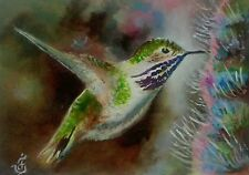 Hand Painted Original ACEO Oil CALLIOPE HUMMINGBIRD Bird Wildlife  Signed by JV