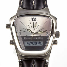 Lambretta Jet Digital & Analogue Silver Black Leather Retro 60's Mens Watch