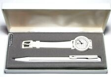 Pentel Clicroller Rollerball Pen and Watch Gift Set - Clic Roller - White/Black