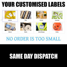Pre Printed CUSTOM TEXT Self Adhesive STICKY Labels Address Label CUSTOMISED