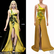 NEW VERSACE YELLOW SILK and LEATHER GOWN DRESS