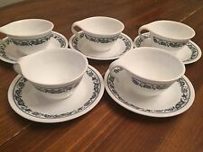 """Corelle """"BLUE ONION"""" Dinnerware ~ Set of 5 ~ Hook Cups and Saucers"""