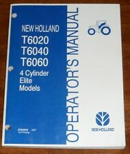 New Holland T6020 T6040 T6060 Tractor Elite Models Operators Manual