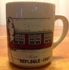 Replogle 1989 Coffee Cup Retro Mug with red brick building and usa flag on front