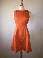 6) NWTs Eva Mendes for NY&Co Burnt Orange Brocade Fit & Flare Sheath Dress