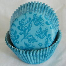 50 pcs CK87 - elegant blue damask  cupcake liners paper cup muffin cases