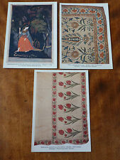 Lot09d 3x KANGRA Abhisarika - Mughal EMBROIDERY William Clowes Art POSTCARDS