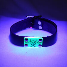 PAWSTAR Cybergoth Acrylic Leather Collar Cyber UV Black Green Biohazard Choker