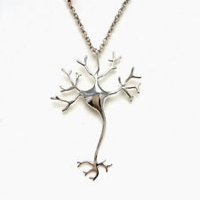Women's silver pleated Toned Nerve Cell Science Pendant Necklace christmas gift