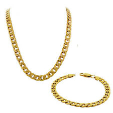Stainless Steel Yellow Gold Mens Classic Cuban Link Chain Necklace Bracelet Set