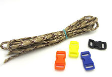 Outdoor Hiking Survival  Paracord Rope 7 Core Strand 2.4M + buckle Mixed khaki