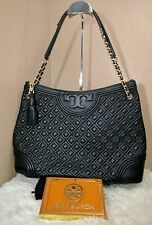 Authentic Tory Burch Quilted Leather Fleming Tote Black MSRP $595