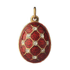 Faberge Egg Pendant / Charm Grid with crystals 2.3 cm red #2301-05