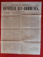 JOURNAL LE MONITEUR DES COMMUNES MINISTERE DE L'INTERIEUR N° 12 - 24 MARS 1859