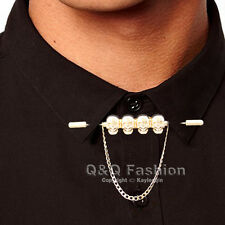 Men Pirate Skull Chain Barbell Shirt Collar Tie Bar Brooch Pin Fancy Dress Punk