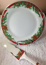 Tienshan 1994 Fine China Christmas Deck The Halls 2 Piece Cake Set New In Box
