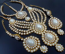 WHITE PEARL CZ GOLD TONE INDIAN TRADITIONAL NECKLACE SET 4 PCS BRIDAL JEWELRY