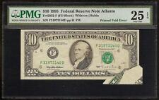 1995 $10 DOLLAR BILL PRINTED FOLD ERROR BUTTERFLY NOTE CURRENCY PAPER MONEY PMG