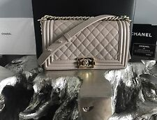 NWT CHANEL 2017 DARK BEIGE CAVIAR Old Medium Boy Bag GOLD TAUPE GRAY AUTHENTIC