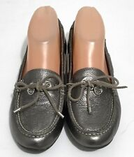 Sperry Top Sider Laura Pewter Metallic Leather Driving Moccasin Loafers Size 6M