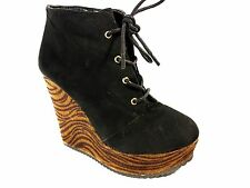 Women's G By Guess Black Suede Boot W/ Brown Zebra Wedge Heel Size 6