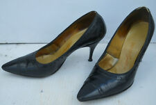 VINTAGE 1950s BALENCIAGA BLACK SPECTATOR PUMPS HIGH HEEL SHOES 5 1/2 M