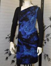 NICOLE MILLER STUDIO 6 M blue black modest long sleeve classy lady sheath dress