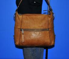 FOSSIL Brown LARGE Leather Zipper Slouch Tote Hobo Shoulder Shopper Purse Bag