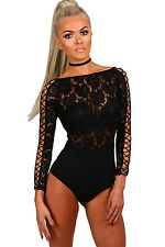 New Gorgeous Black Lace Lattice Sleeve Bodysuit Top Size 8 10 12 14 UK