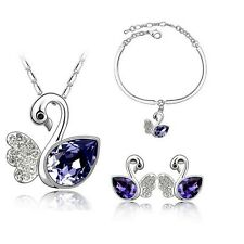 Silver Plated Purple Crystal Swans Necklace Bracelet And Earrings Set