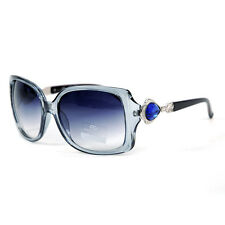 Women's Square Frame Sunglasses w/ Princess Jeweled Accent on Side - Grey/Black