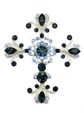 Pin Brooch Big Cross Crucifix Navy Blue Crystal Easter Religious Catholic