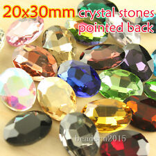 12 30x20mm mixed crystal faceted glass oval pointed back rhinestones Jewels Gems