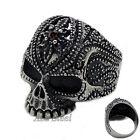 Men's Gothic Flower Skull Ruby Red CZ 316L Stainless Steel Biker Ring