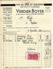 FACTURE VERDIER BOYER CLERMONT FERRAND  TIMBRE FISCAL PLUS DOCUMENT