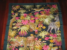 SALVATORE FERRAGAMO TWILL SILK SQUARE SCARF floral/animal 35x35 NWT