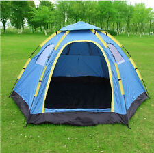 Outdoor Large 6 Person Hiking Camping Automatic Instant Pop up Family Tent Blue