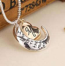 White Gold Plated 'I LOVE YOU TO THE MOON AND BACK MOM' MUM Necklace Pendant