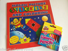 MOSAIC STICKER & COLOURING BOOK KIDS ART & CRAFTS Colouring pencils