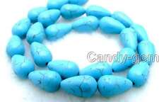 "SALE Big 9*12mm Drop Blue stripe High Quality TURQUOISE bead strand 15""-los540"
