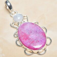 "Handmade Cherry Ruby Natural Gemstone 925 Sterling Silver Pendant 2.25"" #P04207"