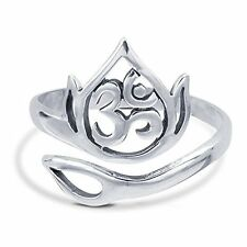 White Gold Plated .925 Sterling Silver Simple Plain OM Ohm AUM Ring For Women's