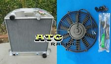3 core Aluminum Radiator for FORD 1932 Hi-Boy Chevy engine hotrod + Fan