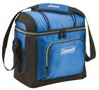 Coleman 16-Can Soft Cooler With Hard Liner, Blue, Drink Tote Lunch Box, New