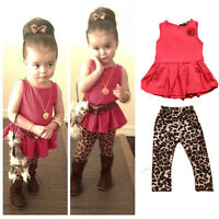 Baby Girl Kid Sleeveless Vest T-shirt Top Clothes Leopard Pants 2pcs Outfit Set