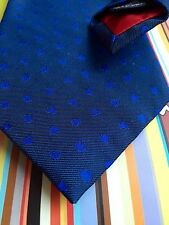 Paul Smith mens blue classic patterned 100% silk tie Made in England BNWT