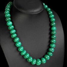 PRECIOUS ELEGANT 579.00 CTS NATURAL GREEN EMERALD ROUND BEADS NECKLACE STRAND
